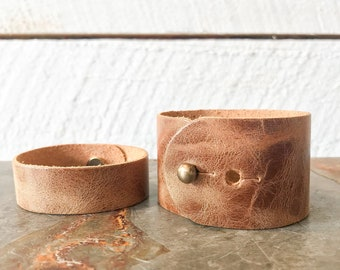 Honey Brown Leather Cuff