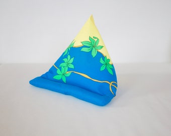Blue-yellow pillow, small pillow, i pad stand, small cushion, tablet cushion, e book cushion, iPad Beanie, ipad lap stand,kids tablet holder