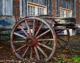Wagon Photograph, Landscape Photography, Farmhouse Decor, Wall Art, Wagon Wheel, Color Photography, Brown, Blue, Rust