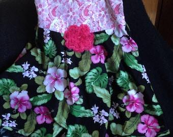Designer Tropical Hawaiian Dress, Hibiscus Flower Dress, Girls Dress, Toddler Girls Dress, Hawaiian Girls Dress, Holiday Girls Dress