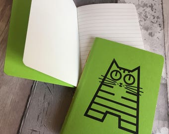 Small ruled green cat journal featuring Holly - hand-printed, hand-stitched A6 pocket sized notebook