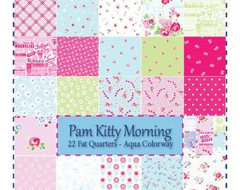 Pam Kitty Garden, AQUA - 22 Fat Quarters Bundle by Lake House Fabrics