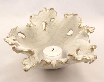 Clay Candle Holder, Wedding Candle Holder, Ceramic Pottery Luminary,