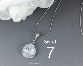 Set of 7 Cubic Zirconia Necklace Bridesmaid Jewelry Bridal Party Gift Bridesmaid Gift Bridesmaid Necklace Wedding Gift for Mother of Bride
