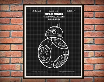 Star Wars BB-8 Droid Patent from The Force Awakens Movie - Art Print - Star Wars BB8 Movie Poster - Star Wars Collector Item