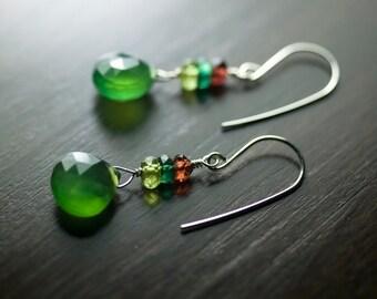 """Green Chalcedony Earrings, Garnet, Peridot, Chrome Apatite, Gemstone, Sterling Silver, Kiwi, Moss, Woods, Dangle, Deep Red - """"Fern Forest"""""""