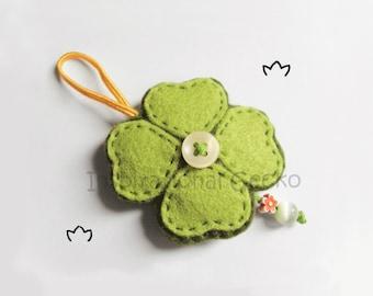 Felt clover ornament, good luck charm, St. Patrick's Day home decor, whimsical baby shower ornament, cute clover kids room decoration
