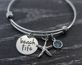 Wire Bangle / Beach Life / Toes in the Sand / Personalized / Hand Stamped / Wire Bangle Bracelet