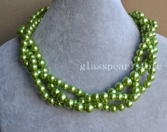 green pearl Necklace,Glass Pearl Necklace, Triple Pearl Necklace,Wedding Necklace,bridesmaid necklace,choker necklace,lime green necklace