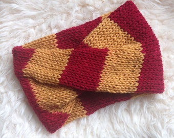 Gryfindor Red and Gold Harry Potter Inspired Hand Knit Turban Headband - READY TO SHIP