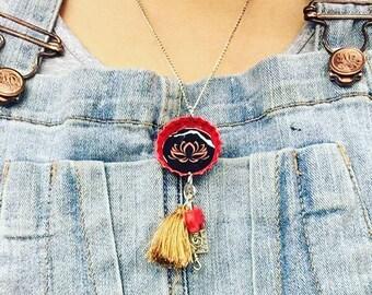 Lotus Bottle Cap Necklace