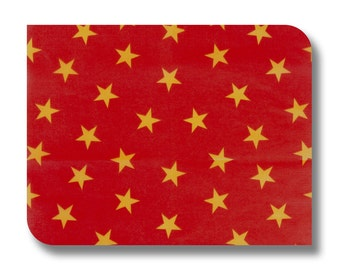 Red and gold Christmas paper napkin for decoupage, mixed media, collage, scrapbooking x 1. Gold Star. No 1134