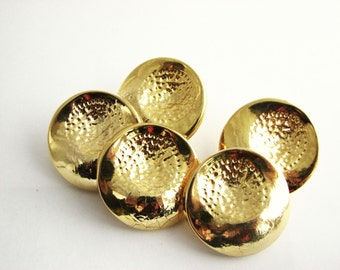 5 large gold tone metal buttons, Shank buttons for jackets, 27 mm, unused supplies!!