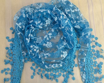 Triangle Scarf Blue Lace Scarf Floral Scarf with Fringe Long Scarf Fashion Scarf