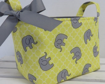 Fabric Organizer Bin Toy Storage Container Basket -  Sweet Gray Elephants on  Maize Yellow and White