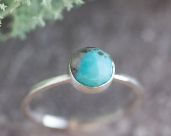 Turquoise ring -skinny stackable ring with rose cut Turquoise stone, December birthstone, sterling silver, 9k gold