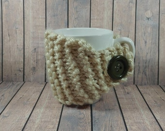 Cream Tweed Mug Cozy- Cream Tweed Coffee Cup Cozy- Knitted Coffee Cup Cozy