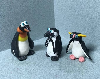 Miniature Penguin sets. Trio, Mom and chick, pair, your choice of one set. Reduced pricing.