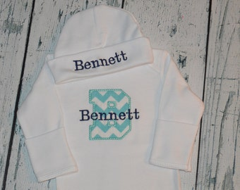 Baby Coming Home Outfit, Personalized Infant Gown and Hat Set, Embroidered Newborn Sleeper Set, Baby Gown and Hat Monogram