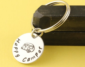 Happy Camper porte-clé - porte-clef Camping - RV porte-clé - cadeau pour Camping amant - voyage porte-clef - Camper porte-clés - Camping trousseau de clés