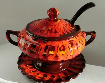 Vintage Soup Tureen with Ladle and Underplate~California Pottery 663 665 USA