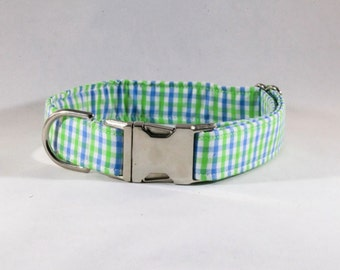 Preppy Blue and Green Gingham Dog Collar