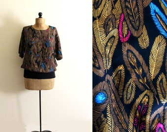 vintage blouse feather print gold abstract 1980s black clothing size medium m large l