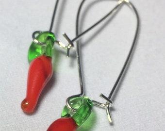Glass Chili Pepper Earrings