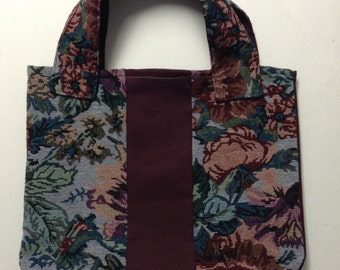 Tote Bag   Tote   Womens Tote Bag   Tapestry Tote Bag   Maroon Canvas and Floral Tapestry Tote Bag   Floral Tote   Shopping Tote