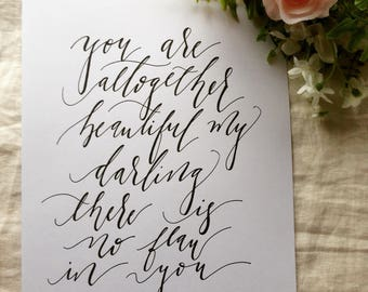 All Together Beautiful, Hand lettering, Scripture, Song of Solomon, Gift for Her, Calligraphy, Lettering