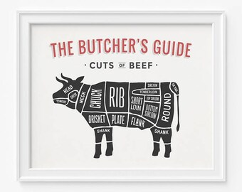 Beef Print, Butcher Guide, Beef Butcher Guide, Kitchen Art, Home Decor, Beef Wall Art, Beef Decor, Butcher Wall Art, Fathers Day Gift