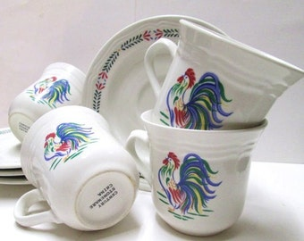 Rooster Teacups 4 Sets Cup Saucer Vintage Tea Party China Wedding Favor Sunrise Rooster Century Lot Orphan Country Chicken Farm Kitchen