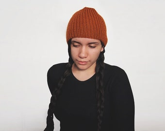 pick your color hand knit wool free hat -- the torse beanie in rust