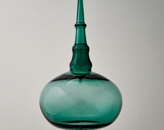 Blown Teal Ornament, Glass Art Ornament, Hand Blown Glass Ornament, Teal Suncatcher, Handmade Ornament, House Warming Gift, Suncatcher