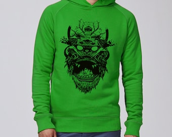 Hand screen printed Hoodie Sweatshirt / Mask / Green