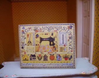 Embroidery Sampler Miniature Wooden Plaque 1:12 scale