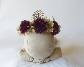 newborn/sitter floral crown, newborn photo prop, sitter photo prop, floral crown, fall floral crown, photo prop, fall newborn prop