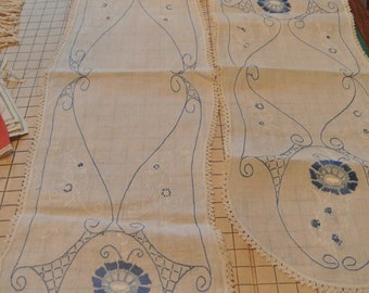 Embroidered Dresser Scarf Set Table Runner Blue Embroidered Crochet Trim