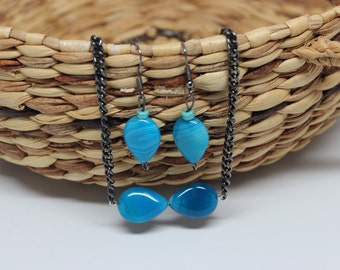 Blue Jewelry Set--Necklace and Earrings