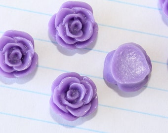 10 SMALL ROSE Cabochons - 12mm - Lavender Color