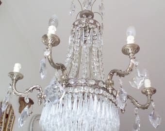 Stunning Empire chandelier 10BULB crystal/brass italian c encrusted crown 6 arms wedding cake candelabra beads,gorgeous patina