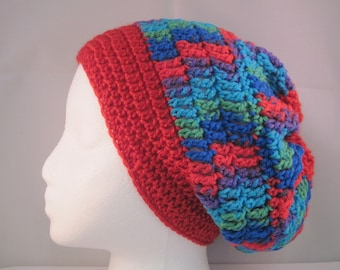 red slouchy with blue, purple, green and turquoise