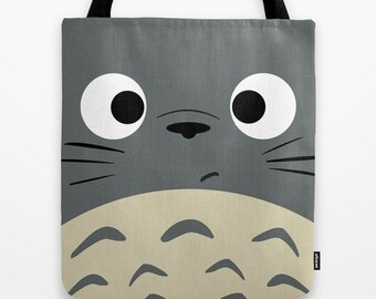 Totoro Kawaii My Neighbor 13x13 Graphic Pop Art Print Tote Bag Anime Grey Manga Troll Hayao Miyazaki Studio Ghibli 16x16 18x18 Gift Her Him