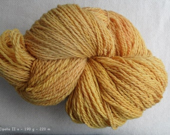 "Yarn ""Susu Cipolli 2"" hand-spun, 2 ply - Merino, nature contact coloring colored onion-skin"