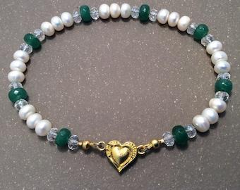 Pearl and Jade collar, cat collar, small dog collar
