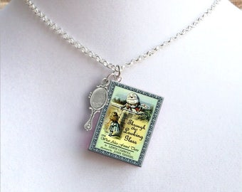 Through The Looking Glass With Tiny Mirror Charm - Miniature Book Necklace