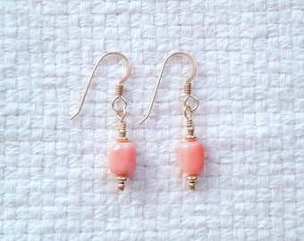 Coral and Gold-Filled Wire-Wrapped Earrings                                                                                05/18