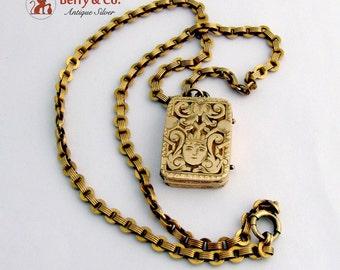 Antique 14 K Gold Locket Pendant Gold Filled Chain Necklace
