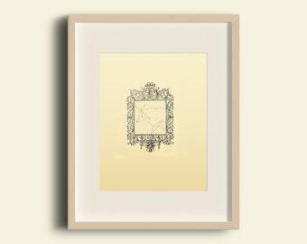 Minimalist Geometric Aged Lines Scandanavian Frame Vintage Print Home Decor