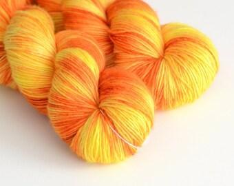"Hand Dyed Sock Yarn - ""Apollo"" - Bright Orange and Sunlight Yellow - Fingering Weight"